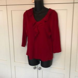 Talbots ruffled top size me red